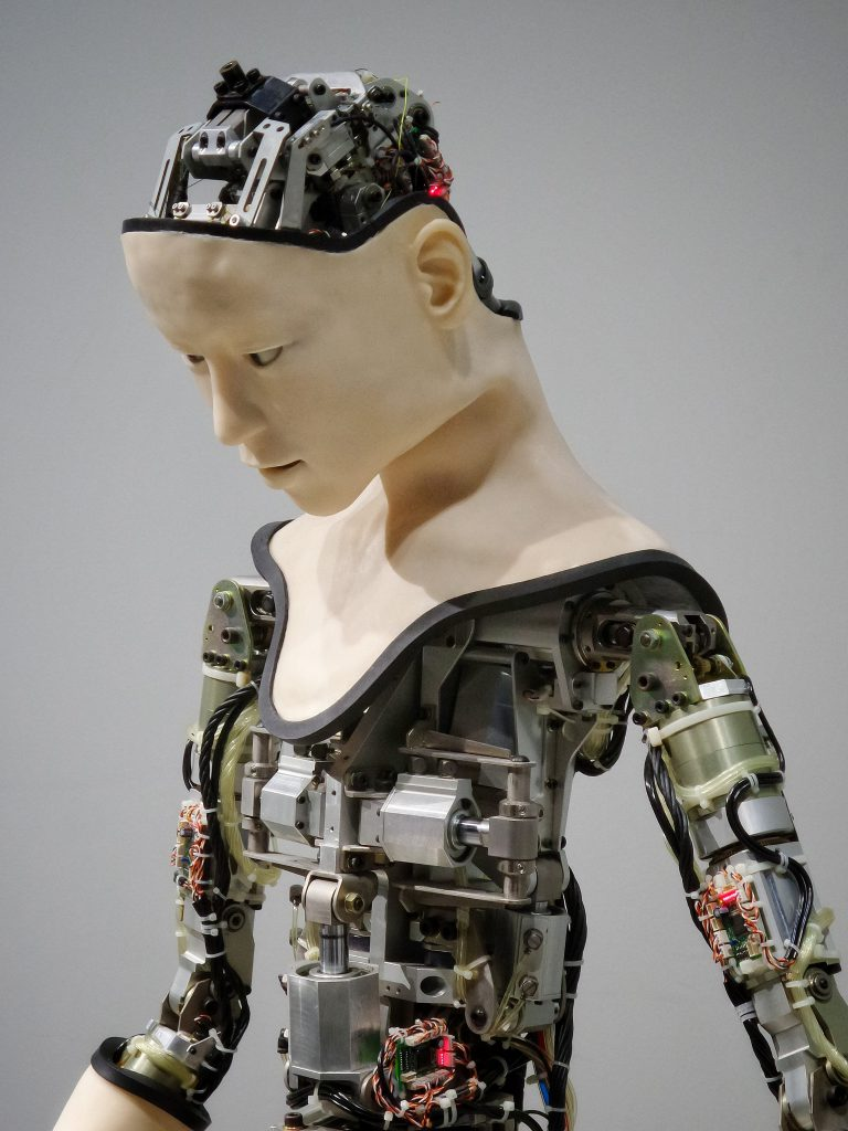 Humanoid robot with robot parts showing