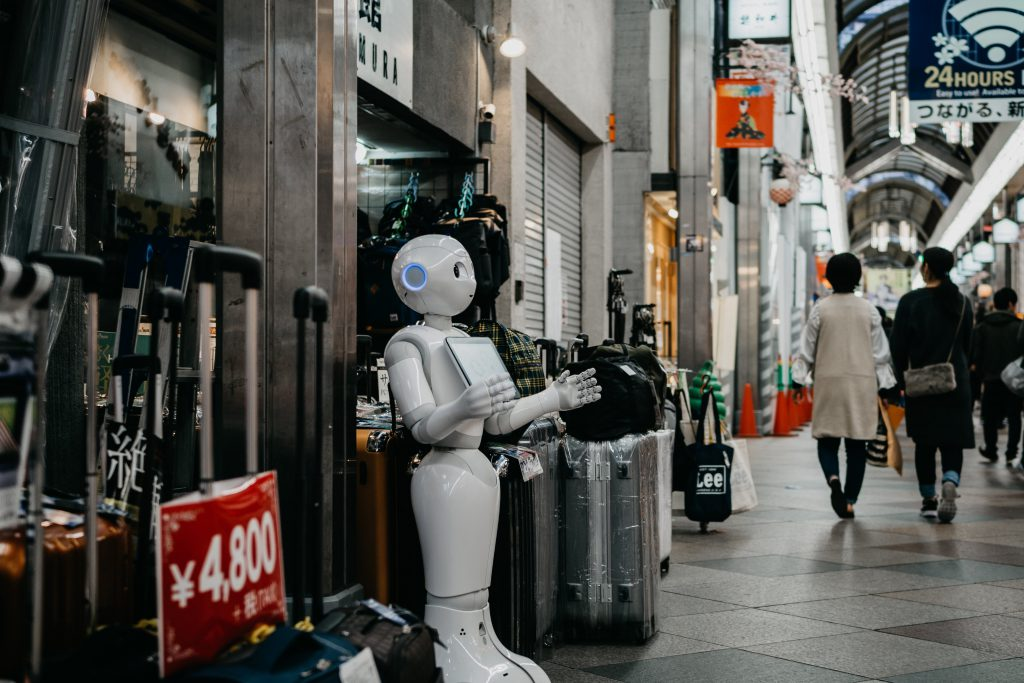 Image of a consumer robot in front of a store