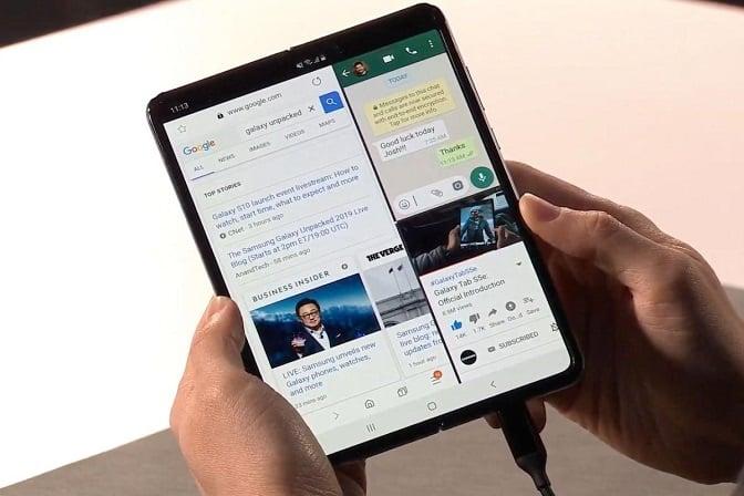 Display of Samsung Galaxy Fold