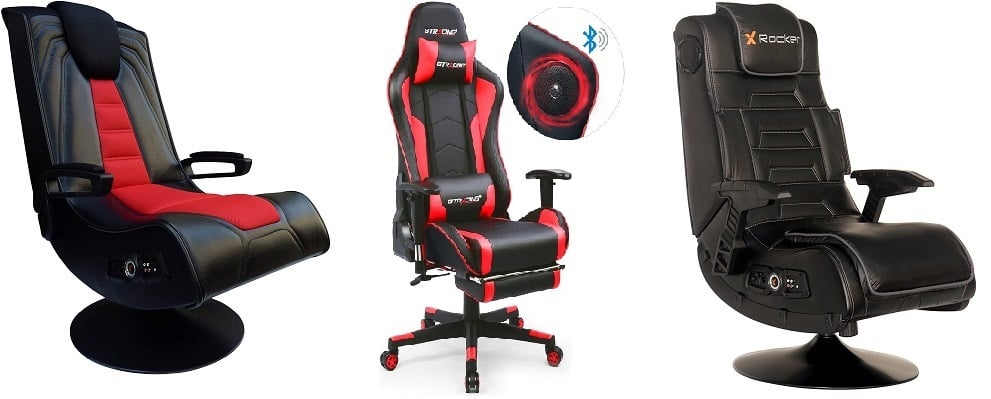 Height Adjustable Ergonomic Office Desk Chair Black Blue Modern Depo High Back Swivel Gaming Chair Recliner With Bluetooth 4 1 Speakers Lumbar Support Headrest Furniture Video Game Chairs