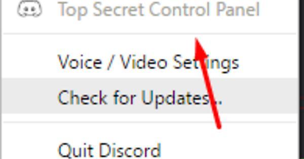 access the Discord Top Secret Control Panel